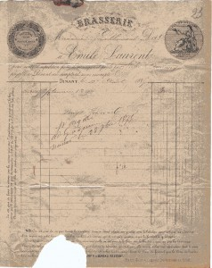 Facture de la Brasserie Emile Laurent 1879