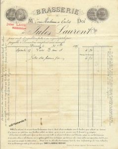 Facture de la Brasserie Jules Laurent 1899